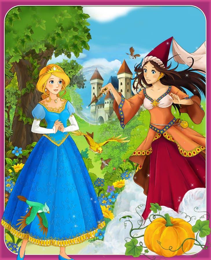Die Prinzessinnen - Aschenputtel - Schlösser - Ritter und Feen - schöner Manga Girl - Illustration für die Kinder stock abbildung