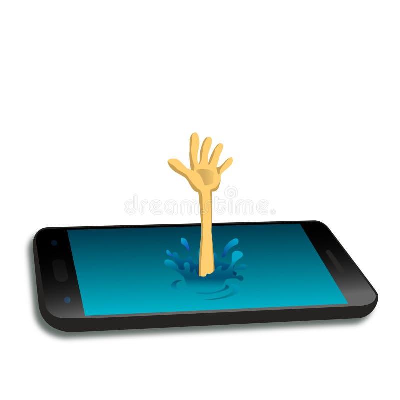 Die psychische Strahlung des Smartphone stock abbildung