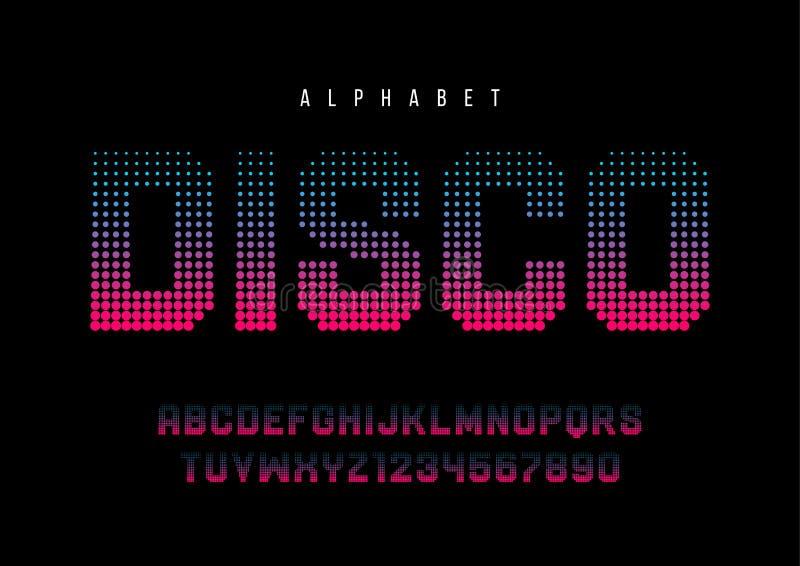 Die punktierte Disco halftoned Anzeigenschriftart, Alphabet, Schriftbild, stock abbildung