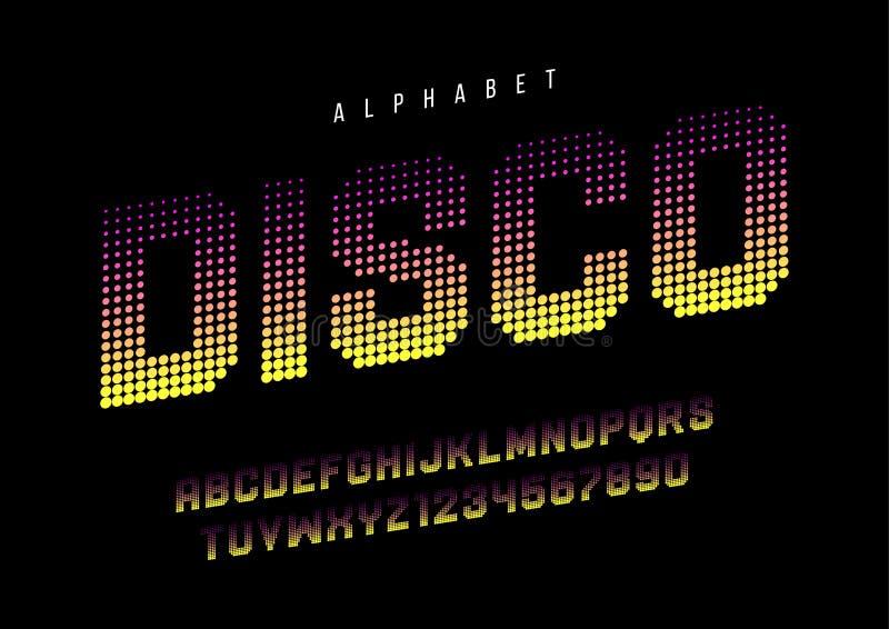 Die punktierte Disco halftoned Anzeigenschriftart, Alphabet, Schriftbild, lizenzfreie abbildung