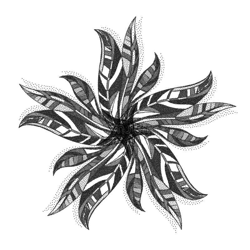 Die punktierte Zusammenfassung verlässt Illustration Blattmandala punktiert Dekoration vektor abbildung