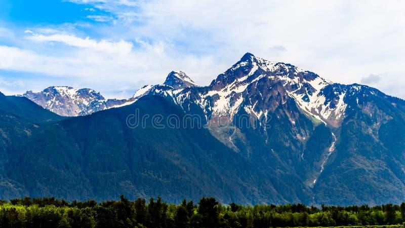 Die Pyramide formte Cheam-Berg oder Cheam-Spitze und ragte über Fraser Valley hoch, wie von der Lougheed-Landstraße nahe Agassiz  stockbilder