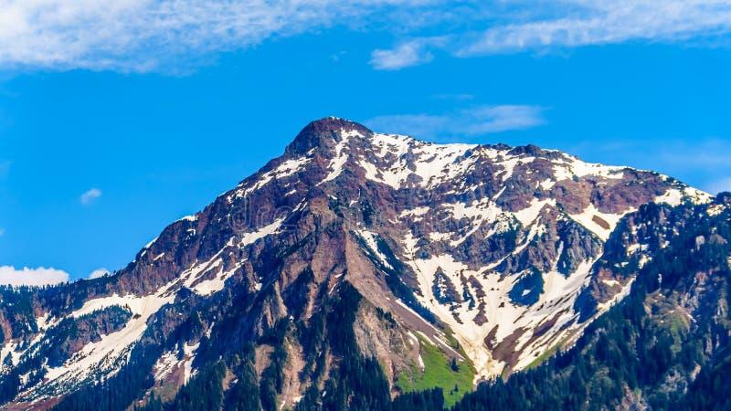 Die Pyramide formte schroffe Spitze von Cheam-Berg oder Cheam-Spitze, die über Fraser Valley des Britisch-Columbia hochragt lizenzfreies stockbild