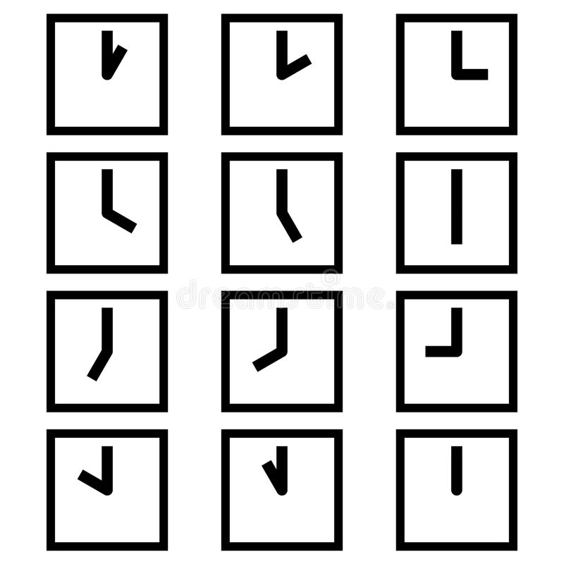 Die quadratischen Uhren, die verschiedene Zeitstunden-Symbolikonen zeigen, unterzeichnet Logos einfacher Schwarzweiss-Farbsatz lizenzfreie abbildung