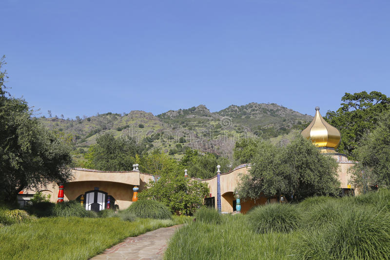 Die Quijote-Weinkellerei in Napa Valley lizenzfreies stockbild