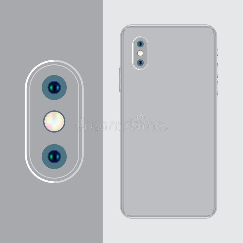 Die Rückseite des Handys ist silbrig und die vertikale Kamera lizenzfreie abbildung