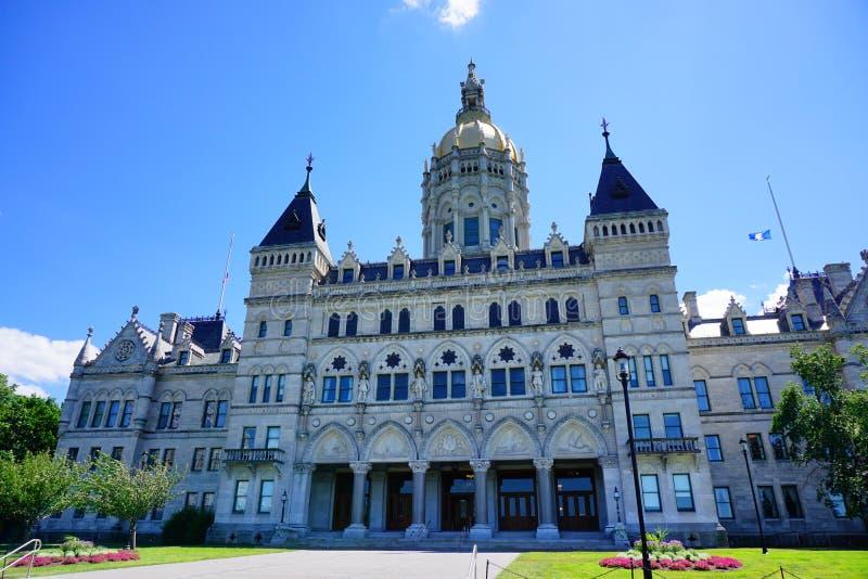 Die Rückseite des Staat Connecticut-Kapitols lizenzfreies stockbild
