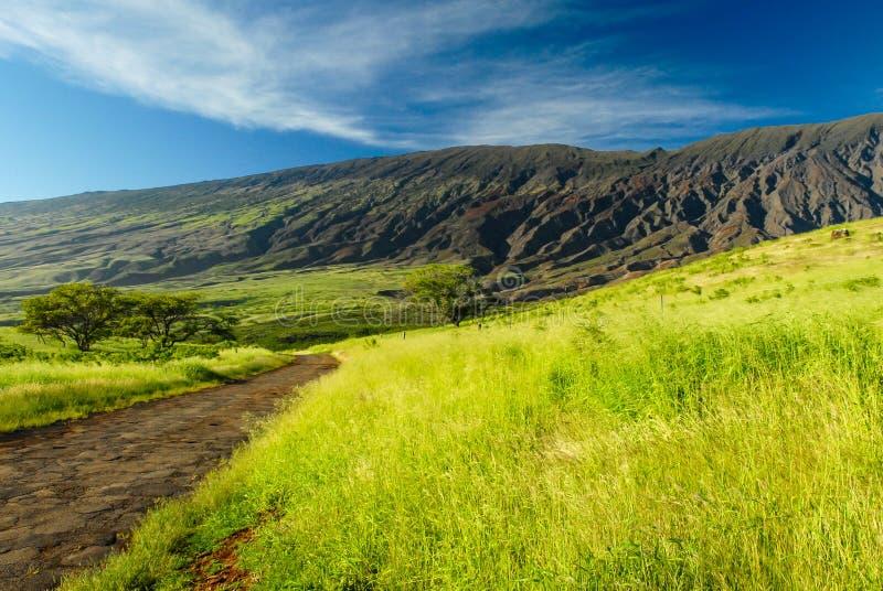 Die Rückseite von Haleakala-Krater lizenzfreie stockfotos