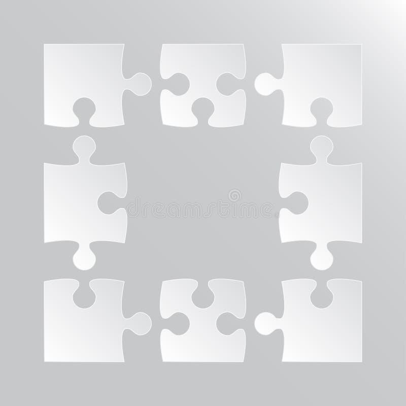 Die Rahmen-weißen Puzzlespiel-Stücke - Laubsäge Puzzlespiel vektor abbildung