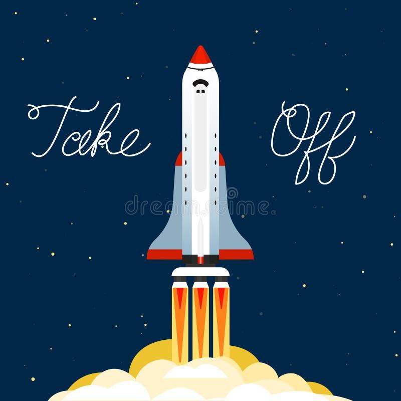 Die Rakete startete in den Himmel Raumflug auf einer Rakete Raumschiff in der Galaxie auf einem dunklen Hintergrund Ein Blitz von lizenzfreie abbildung