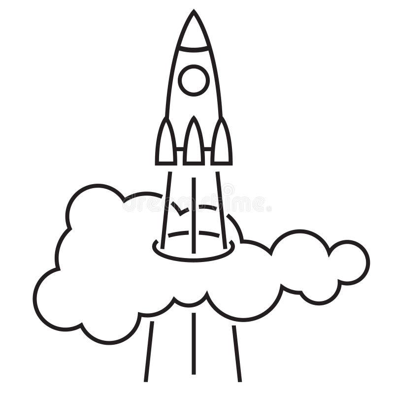 Die Rakete steigt oben durch die Wolke an vektor abbildung