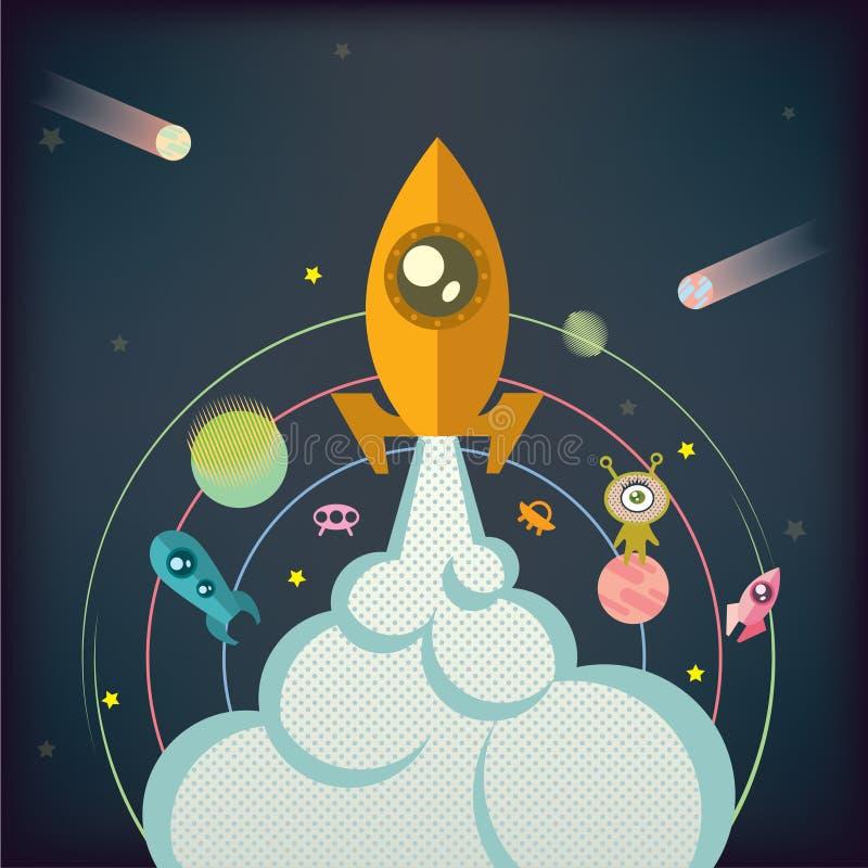 Die Rakete steigt in Raum auf dem Hintergrund von Planeten, Sterne, fliegende Untertassen an lizenzfreie abbildung