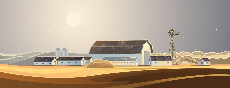 Die Ranch Landwirtschaftliche Landschaft stock abbildung