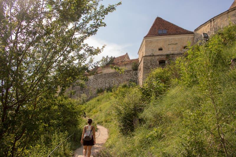 Die Rasnov-Festung, Rumänien stockbild