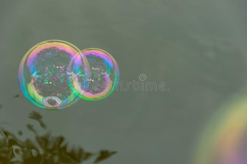 Die Regenbogenblasen vom Blasengebläse stockfotos