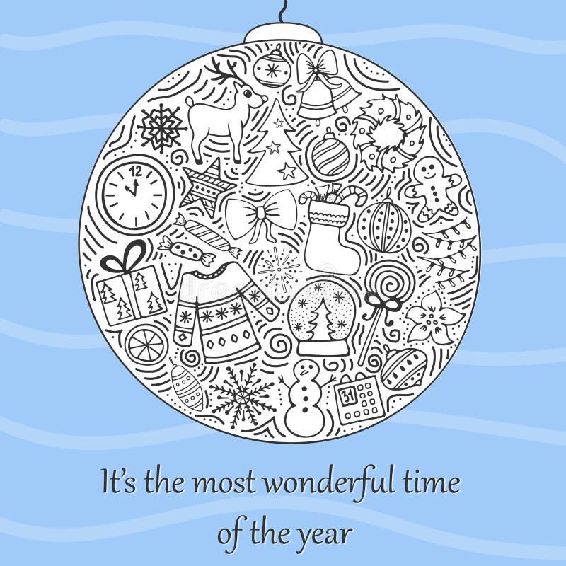 Die reizenden von Hand gezeichneten neues Jahr ` s Illustrationen lizenzfreie abbildung