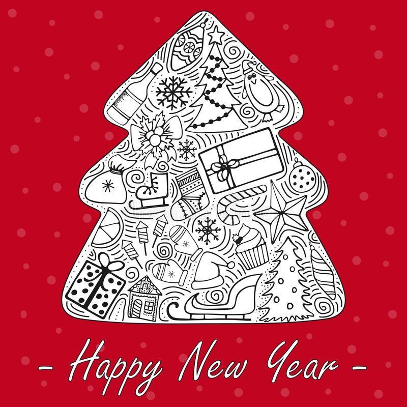 Die reizenden von Hand gezeichneten neues Jahr ` s Illustrationen vektor abbildung