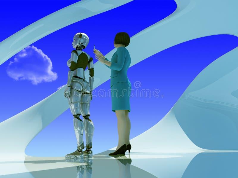 Die Roboterfrau und Frau stock abbildung