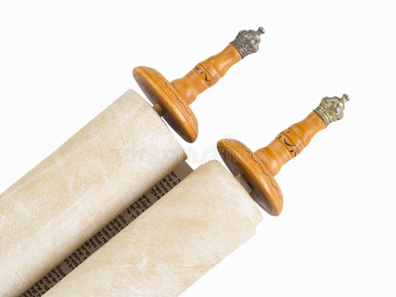 Die Rolle des Torah durchgeführt auf Papier stockfoto