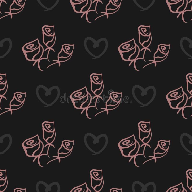 Die Rosen und Herzen, die bürsten gemalt werden fein, Linien Nahtloses Muster vektor abbildung