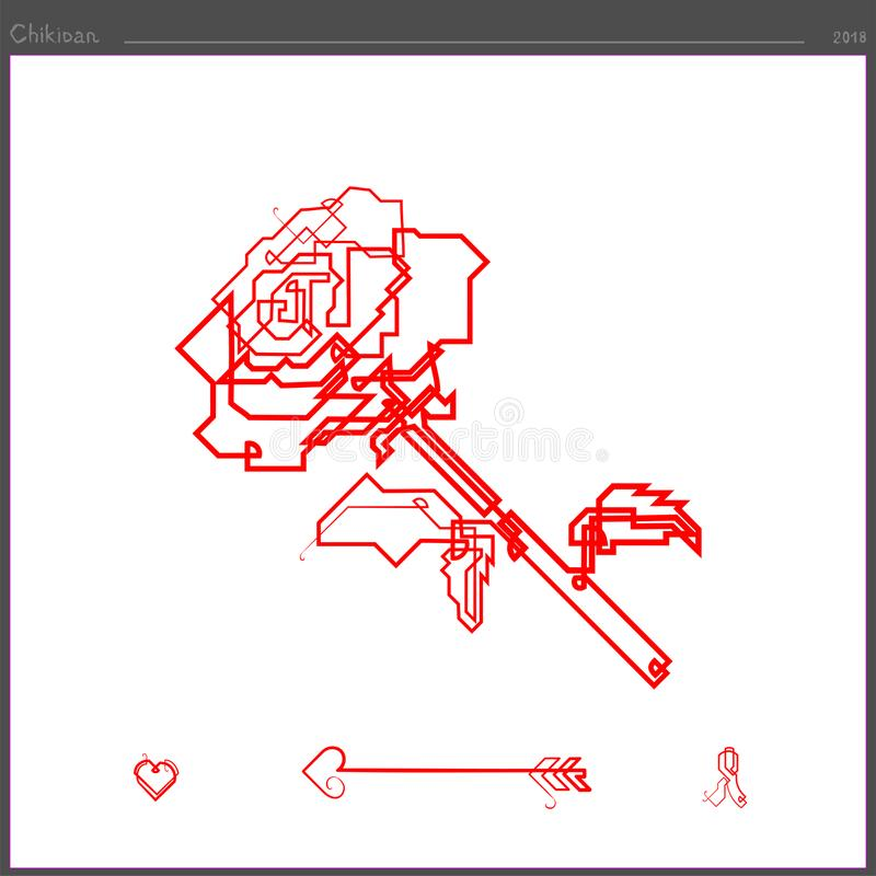 Die Rosenblumenikone wird durch eine ununterbrochene Gerade geschaffen stockbild