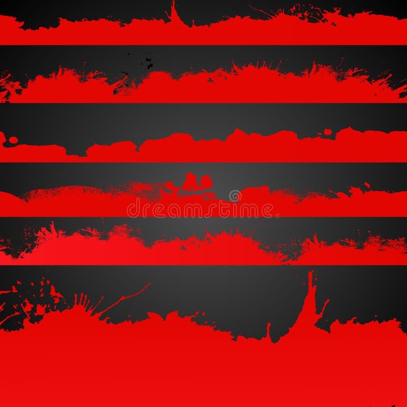 Die rote gezeichnete Farbe des Schmutzes spritzt Sammlung lizenzfreie abbildung