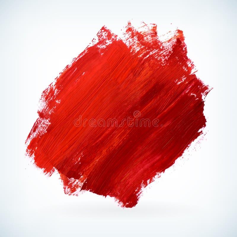 Die rote künstlerische Farbe trocknen Bürstenanschlag-Vektorhintergrund lizenzfreie abbildung