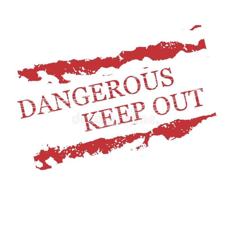 Die roten gefährlichen Stempel, halten ab stock abbildung