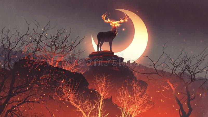 Die Rotwild von der Hölle im Feuerwald lizenzfreie abbildung