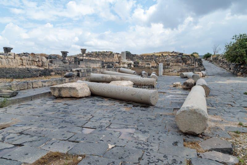 Die Ruinen des Griechen - römische Stadt des 3. Jahrhunderts BC - die ANZEIGE des 8. Jahrhunderts Hippus - Susita auf Golan Heigh stockbild