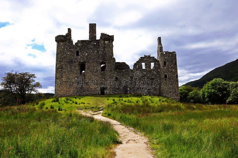 Die Ruinen von Kilchurn ziehen sich in den Hochländern von Schottland zurück lizenzfreie stockbilder