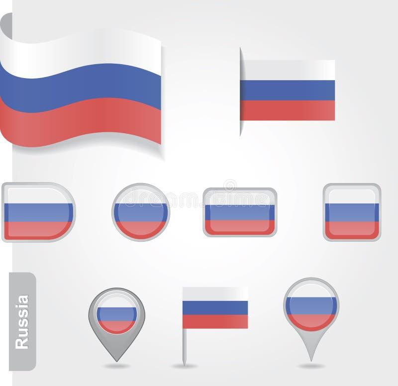 Die russische Flagge - Satz Ikonen und Flaggen stock abbildung