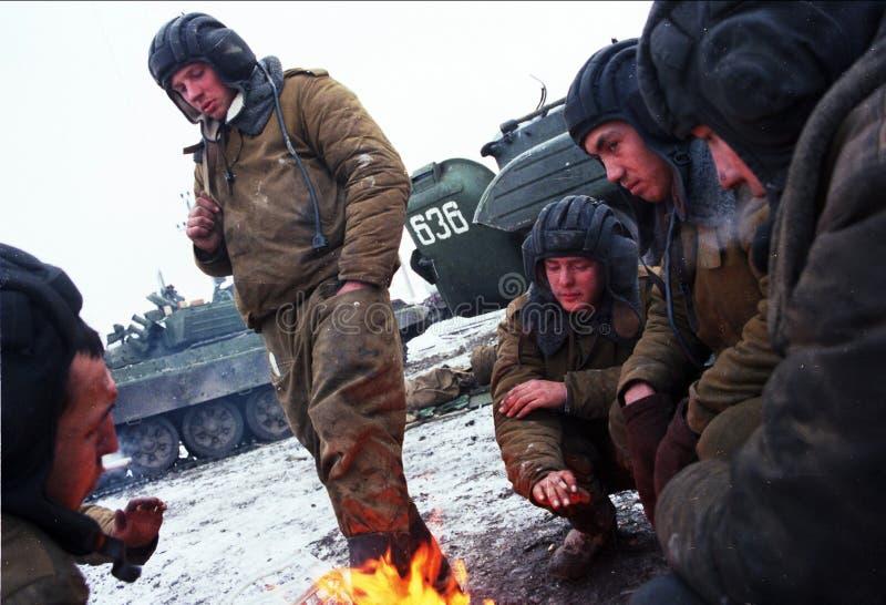 DIE RUSSISCHE INVASION VON TSCHETSCHENIEN stockfotos