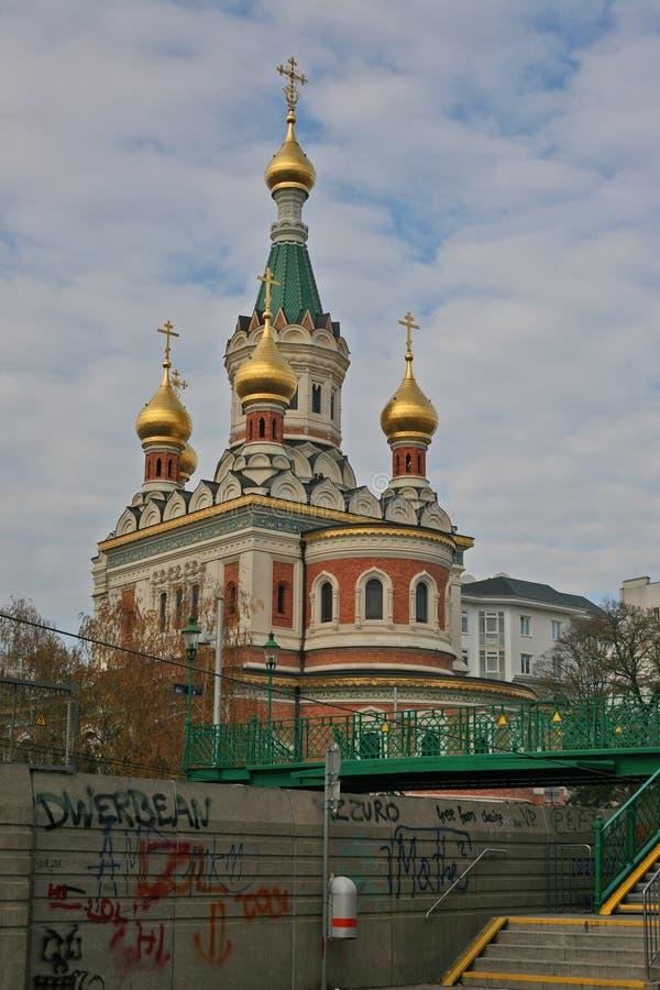 Die russische orthodoxe Kathedrale Wiens von Sankt Nikolaus stockfotografie