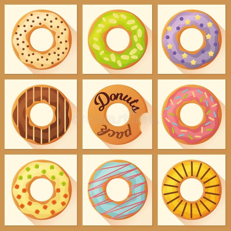 Die süße bunte gebackene glasig-glänzende Schaumgummiringe oder Donuts, die mit eingestellt werden, besprüht vektor abbildung