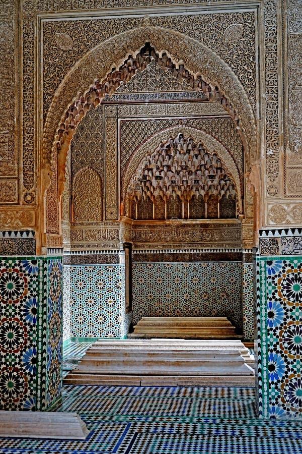 Die Sadiane-Gräber in Marrakesch stockfotografie