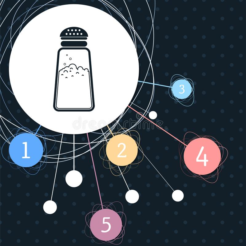 Die Salz- oder Pfefferschüttele-apparat, kochend würzt Ikone mit dem Hintergrund zum Punkt und zur infographic Art vektor abbildung