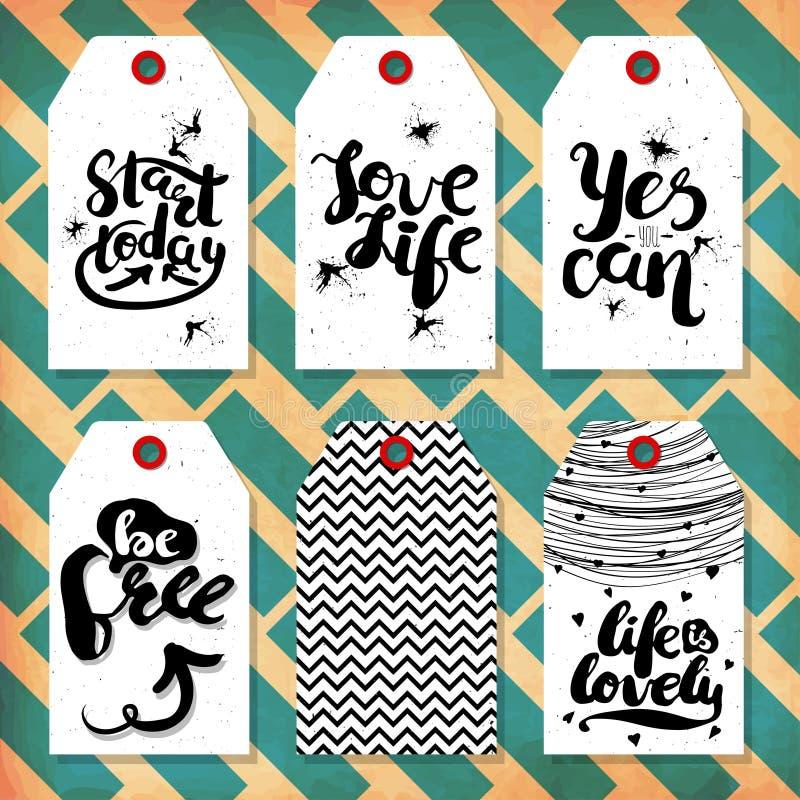 Die Sammlung, die im Stil des reizenden gebrauchsfertigen Geschenks handdrawn ist, etikettiert mit Liebe und Motivzitaten Vektor stock abbildung