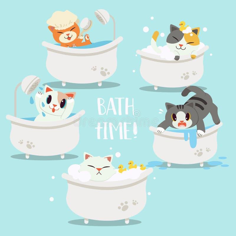 Die Sammlung von bathtime der Katze stock abbildung