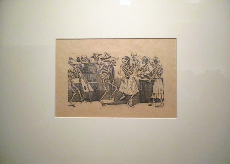 Die Schädel sind gekleideter José Guadalupe Posada stockbild