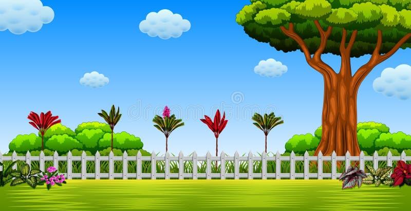 Die schöne Ansicht mit dem großen Baum und dem langen Zaun lizenzfreie abbildung