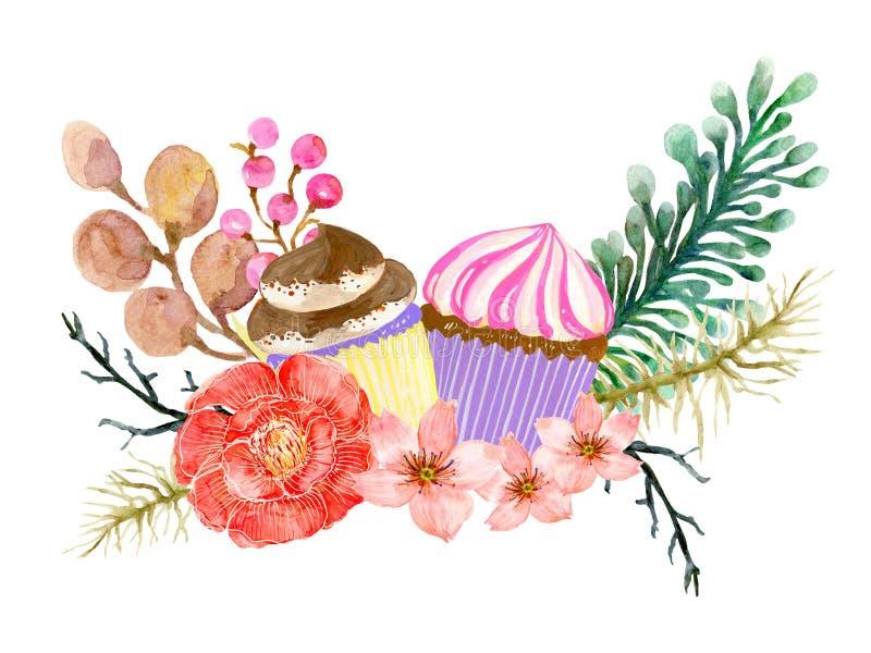 Die schöne Blumenpflanze botanisch und Bäckerei Kuchen Brot Kunst Bouquet Kranz Zusammensetzung Wasserfarbe für Karte, Einladung, lizenzfreies stockbild