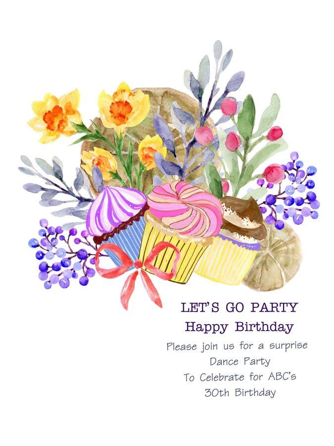 Die schöne Blumenpflanze botanisch und Bäckerei Kuchen Brot Kunst Bouquet Kranz Zusammensetzung Wasserfarbe für Karte, Einladung, stockfotografie
