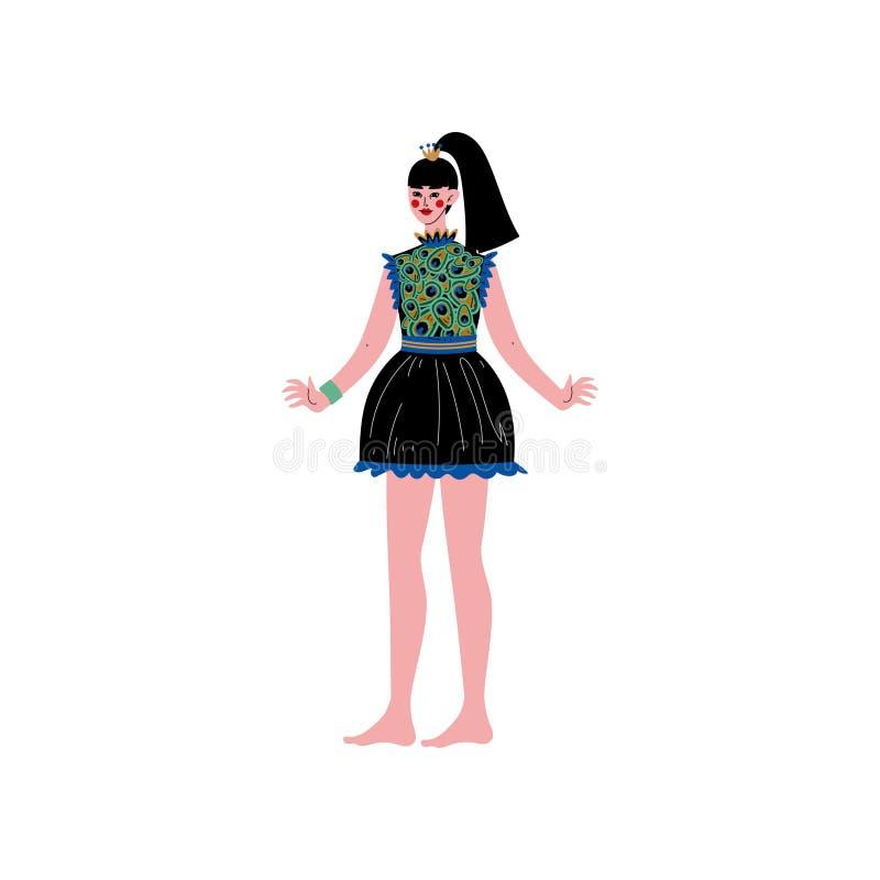 Die schöne Brunette junge Frau, die kurzes Kleid mit Muster des Pfaus trägt, versieht Vektor-Illustration mit Federn lizenzfreie abbildung