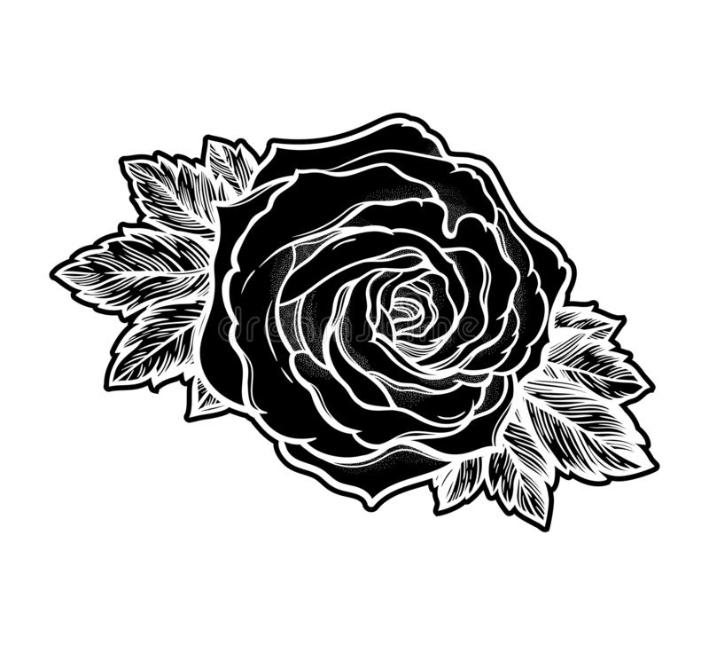 Die sch?ne gezeichnete Hand stieg Blume Lokalisierte Weinleseart, T?towierungsentwurfs-Vektorillustration stock abbildung