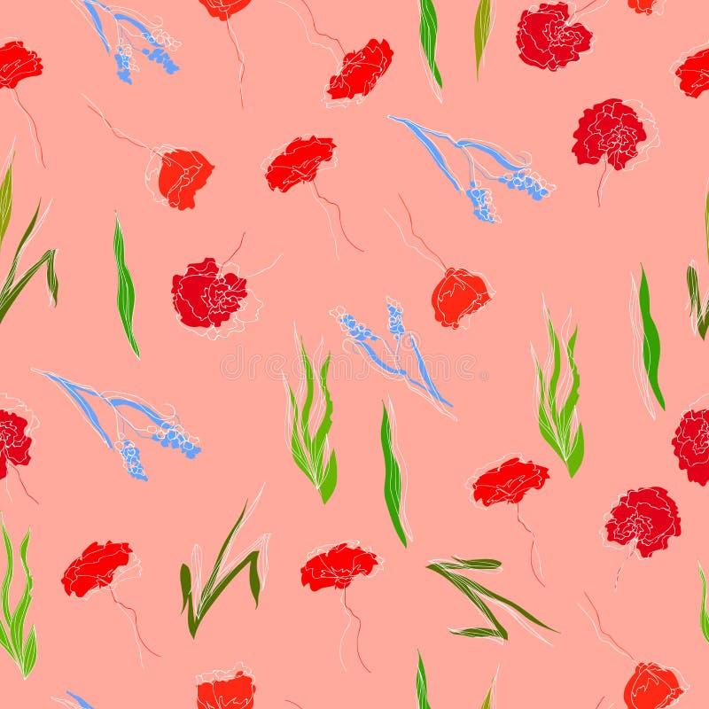 Die schöne gezeichnete Hand watercolored nahtlosen Mustervektor der wilden Gartenblumen lizenzfreie abbildung