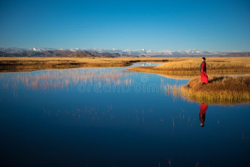Die schöne Landschaft: Frauen und Schnee-Berg stockbild
