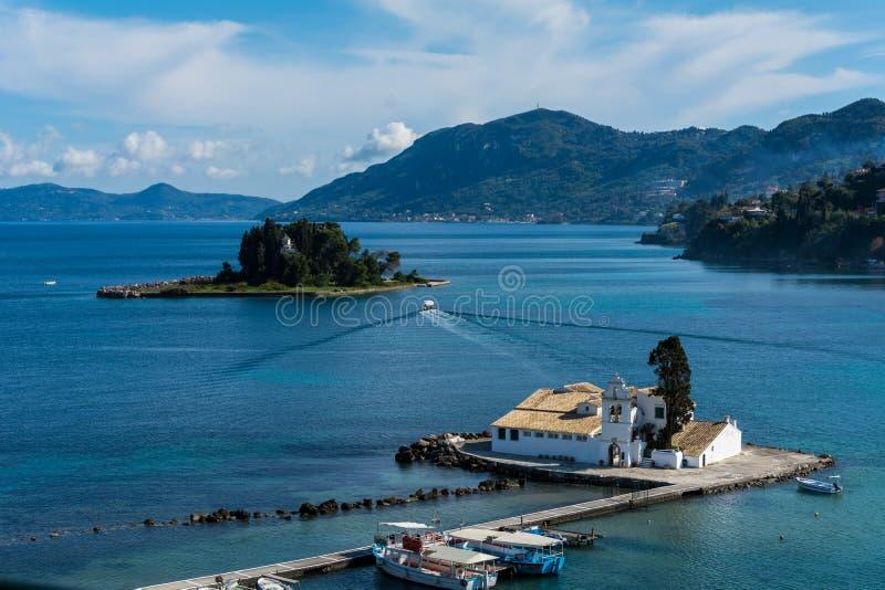 Die schöne pontikonisi Insel, Korfu, Griechenland stockfoto