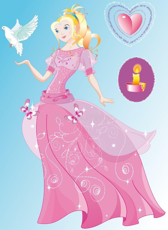 Die schöne Prinzessin im wundervollen rosafarbenen Kleid lizenzfreie abbildung