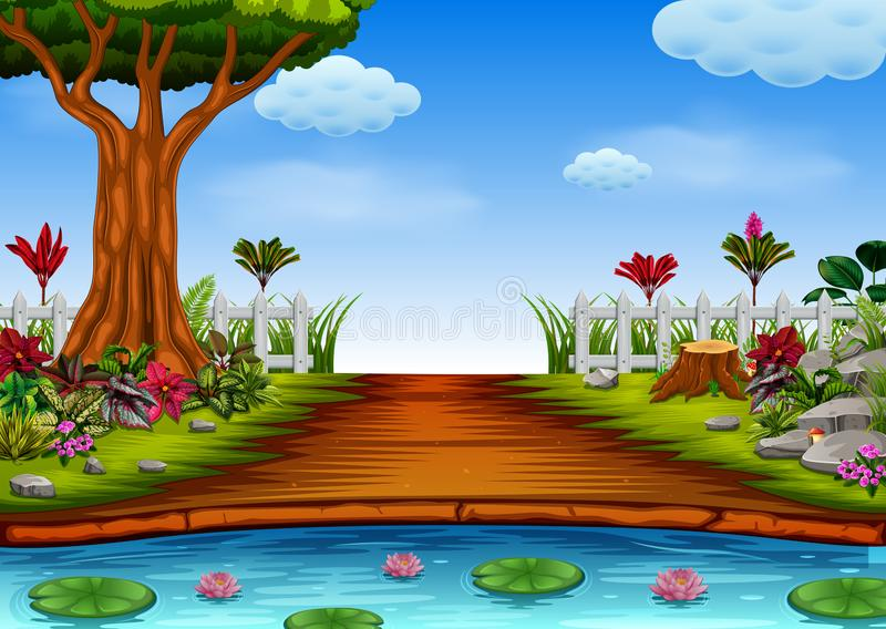 Die schöne Waldansicht mit dem See lizenzfreie abbildung
